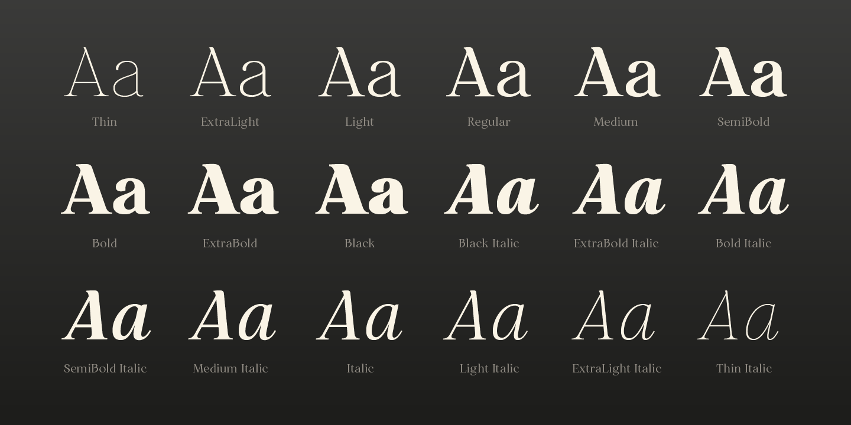 Restora Neue Serif FamilyWeights